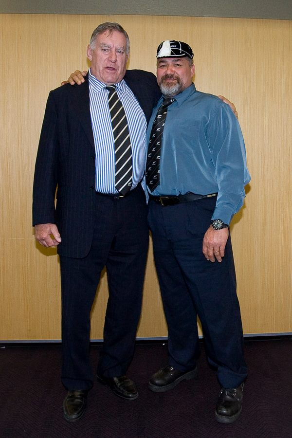 Sir Colin Meads and Paul Koteka